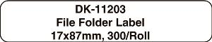 BROTHER DK-11203 FILE FOLDER LABEL 17 X 87MM WHITE ROLL 300