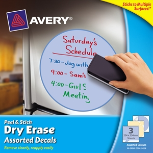 avery 24338 dry erase decals assorted yellow and blue pack 3