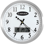 CARVEN WALL CLOCK WITH LED DATE 350MM ALUMINIUM FRAME