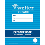 WRITER EXERCISE BOOK FEINT RULED 8MM 60GSM 64 PAGE 225 X 175MM