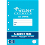 WRITER PREMIUM BINDER BOOK FEINT RULED 8MM 70GSM 128 PAGE A4 DRUMS ASSORTED