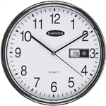CARVEN WALL CLOCK WITH DATE 285MM SILVER FRAME